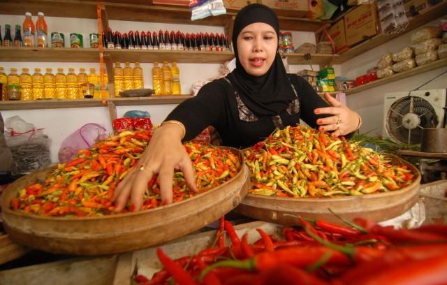 Pedagang menunjukkan cabai rawit oplosan dan cabai rawit kualitas baik di pasar tradisional Jombang, Jawa Timur, Rabu (26/3).
